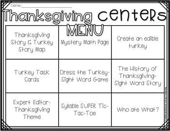 Language Arts & Math Thanksgiving Centers & Menu For First Grade