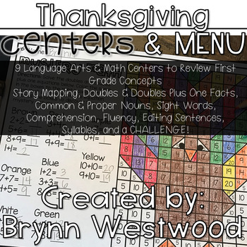 Language Arts & Math Thanksgiving Centers & Menu For First Grade