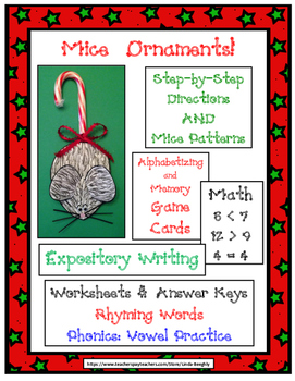 Language Arts & Math with Christmas Mice Ornaments!