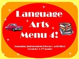Language Arts Menu 4- More literacy activities for independent choice!