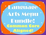 Language Arts Menu Bundle- FIVE Menus for Independent Literacy Work