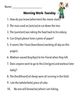 Language Arts Morning/Daily Work
