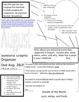Language Arts Notebook - August