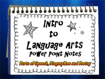 Language Arts Parts of Speech, Biographies and Poetry Powerpoint