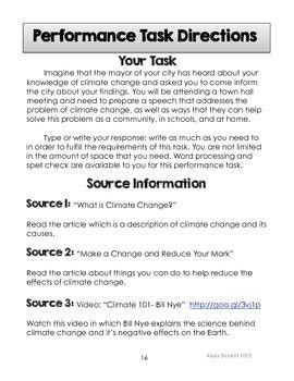 Language Arts Performance Task with Editable Google Doc