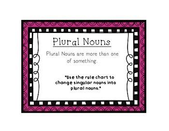 Language Arts Plural Noun Task Cards Center