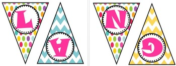 Language Arts Polka Dot and Chevron Bunting Banner