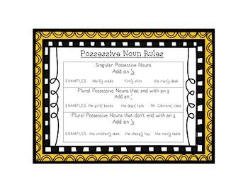 Language Arts Possessive Noun Task Cards Center