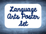 Language Arts Poster Set - Blue Chalkboard