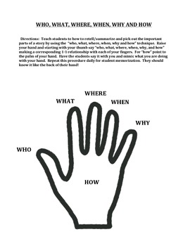 LANGUAGE ARTS POSTER:  Who, What, Where, When, Why and How (GRADES 2 - 4)