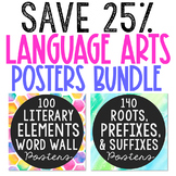 Language Arts Posters BUNDLE, Literary Elements and Roots Words, Test Prep