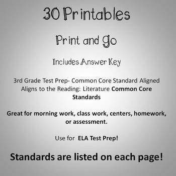 3rd Grade ELA Language Arts Printables -  Reading Literature Text - Common Core