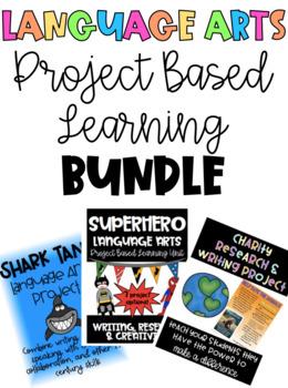 Language Arts Project Based Learning Bundle - Charity, Shark Tank, & Superhero
