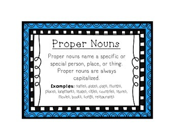 Language Arts Proper Noun Task Cards Center