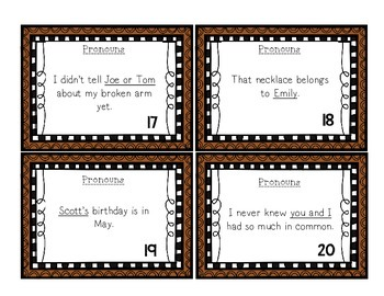 Language Arts Pronouns Task Cards Center