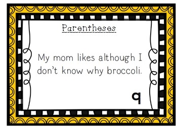 Language Arts / Punctuation Parentheses Task Cards with Answer Key