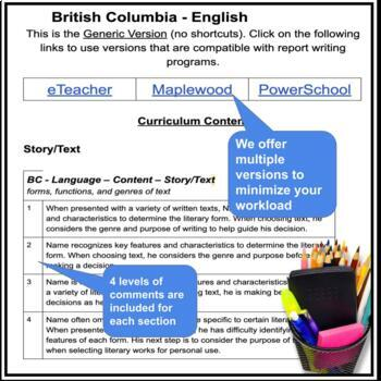 Report Card Comments - LANGUAGE ARTS - Ontario Grade 7/8