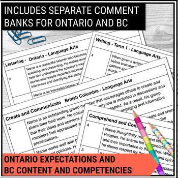 Report Card Comments - LANGUAGE ARTS - Ontario Grade 7/8
