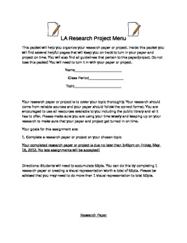 Language Arts Research Project Student Packet