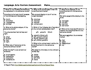 Language Arts Review Task Cards {Christmas Themed Cards}