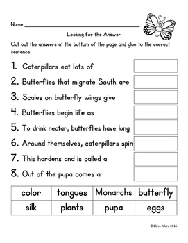 Language Arts, Science/Nature NO PREP Literacy Center: BUTTERFLIES