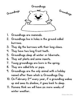 Language Arts, Science/Nature NO PREP Literacy Center: Groundhogs