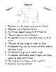 Language Arts, Science/Nature and Writing NO PREP Literacy Center: ELEPHANTS