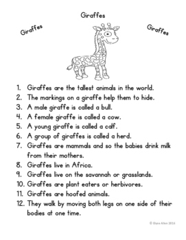 Language Arts, Science/Nature and Writing NO PREP Literacy Center:  Giraffes