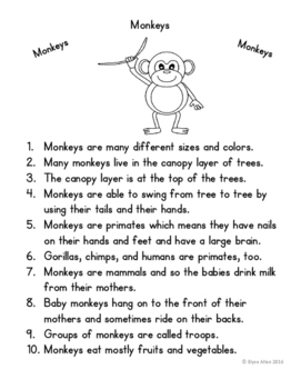 Language Arts, Science/Nature and Writing NO PREP Literacy Center: MONKEYS