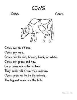 Language Arts, Science/Nature, and Writing NO PREP Literacy Center:  COWS