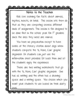 Language Arts, Science/Nature, and Writing NO PREP Literacy Center:  Dogs