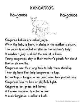 Language Arts, Science/Nature, and Writing NO PREP Literacy Center: KANGAROOS