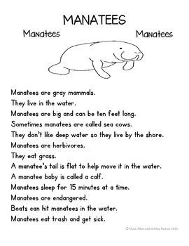 Language Arts, Science/Nature, and Writing NO PREP Literacy Center: MANATEES