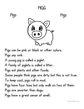 Language Arts, Science/Nature, and Writing NO PREP Literacy Center: PIGS
