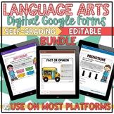 Language Arts Google Forms Self-Grading Bundle   Print & Digital
