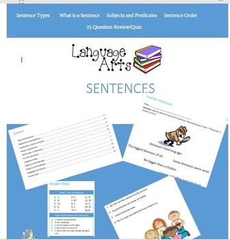 Language Arts- Sentences Worksheets and 25 Question Review
