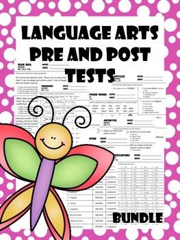 Language Arts Pre & Post Tests Bundle