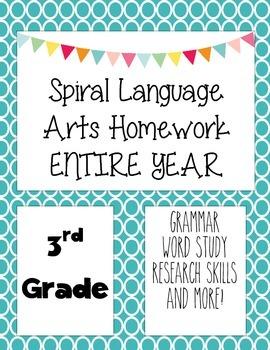 Language Arts Spiral Homework 3rd Grade All year