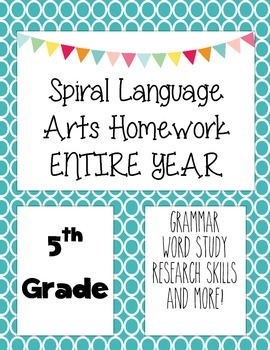 Language Arts Spiral Homework 5th grade Entire Year