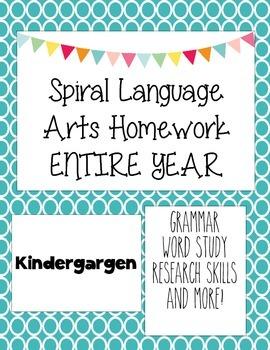 Language Arts Spiral Homework Kindergarten Entire Year