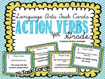 Language Arts Task Cards {Action Verbs}