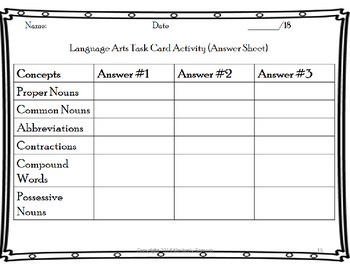 Language Arts Task Cards Set 1