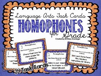 Language Arts Task Cards {Homophones}