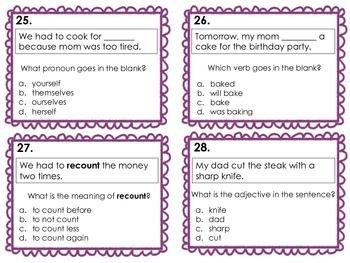 ELA/Language Arts Test Prep Task Cards/Review