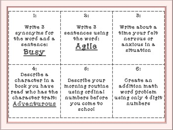 Language Arts TaskCards