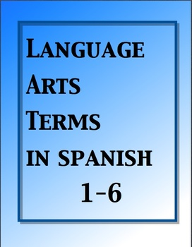 Language Arts Terms Cards in Spanish / Términos de gramáti