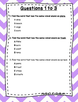 Language Arts Test Prep (Consonant and Vowel Sounds) Task Cards Set 2