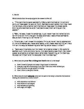 Language Arts Test Prep Practice Story and Questions