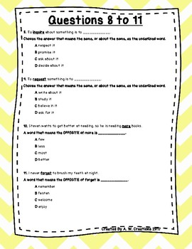 Language Arts Test Prep (Synonyms, Antonyms, and Context Clues) Task Cards Set 5