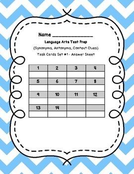 Language Arts Test Prep Task Cards Sets 1 to 21 **BUNDLE**